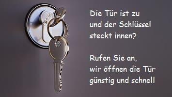 ausgesperrt und den Schlüssel innen auf Tür stecken gelassen